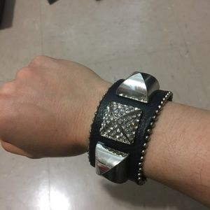 H&M black leather statement bangle bracelet rock